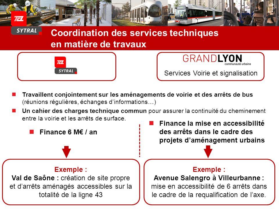 Coordination des services techniques en matière de travaux Exemple : Val de Saône : création de site propre et darrêts aménagés accessibles sur la tot