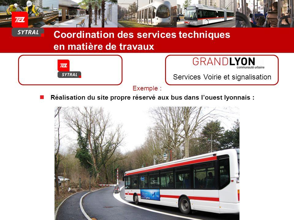 Coordination des services techniques en matière de travaux Services Voirie et signalisation Exemple : Réalisation du site propre réservé aux bus dans