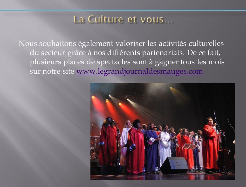 Nous souhaitons également valoriser les activités culturelles du secteur grâce à nos différents partenariats. De ce fait, plusieurs places de spectacl
