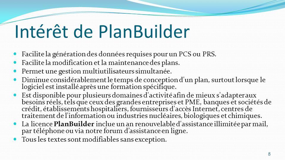 Intérêt de PlanBuilder Facilite la génération des données requises pour un PCS ou PRS. Facilite la modification et la maintenance des plans. Permet un