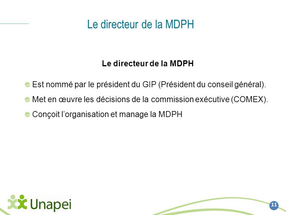 Le directeur de la MDPH 11 Le directeur de la MDPH Est nommé par le président du GIP (Président du conseil général). Met en œuvre les décisions de la