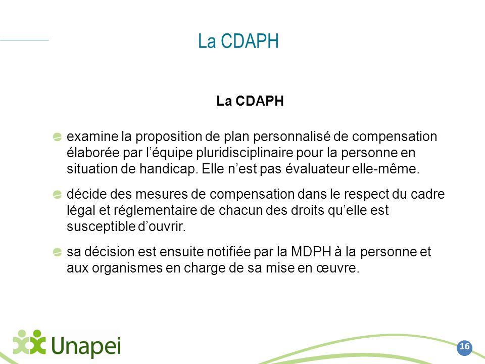 La CDAPH 16 La CDAPH examine la proposition de plan personnalisé de compensation élaborée par léquipe pluridisciplinaire pour la personne en situation