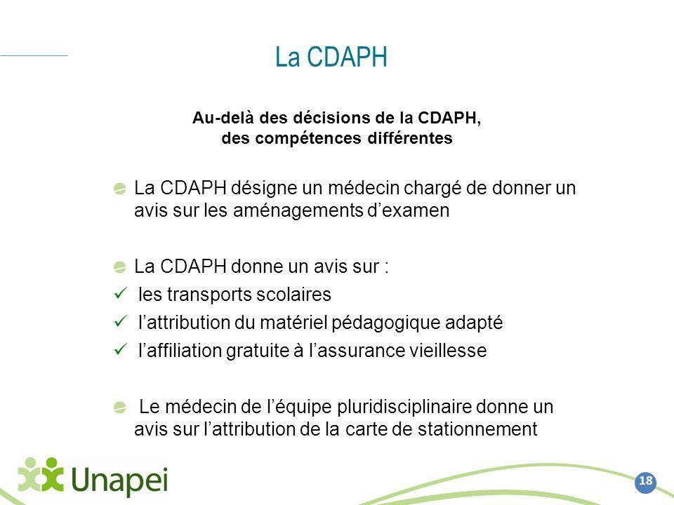 La CDAPH 18 Au-delà des décisions de la CDAPH, des compétences différentes La CDAPH désigne un médecin chargé de donner un avis sur les aménagements d