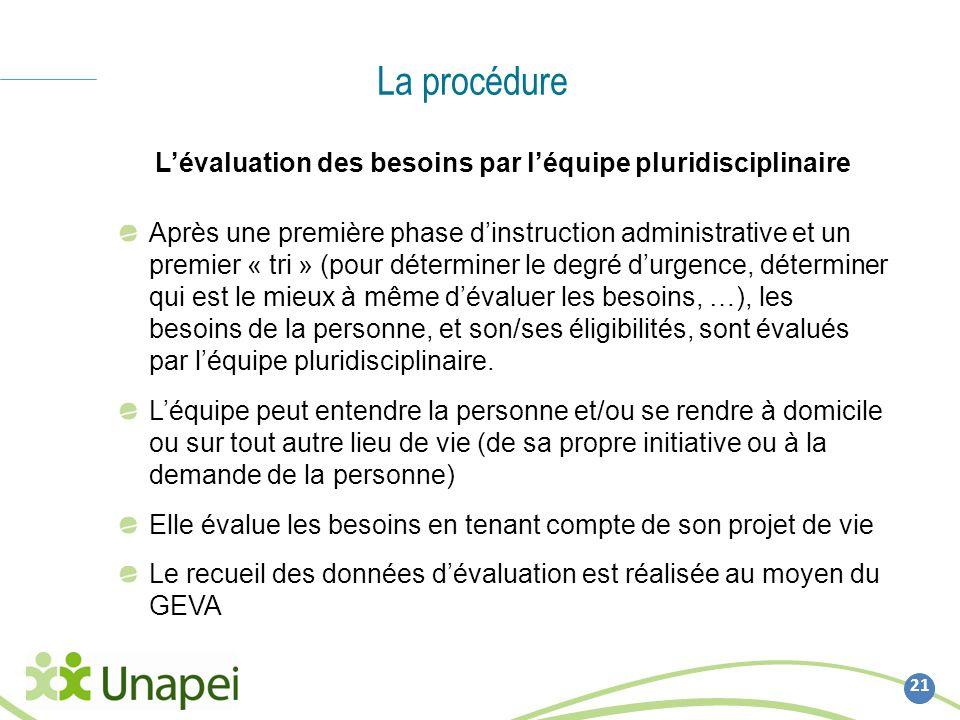La procédure 21 Lévaluation des besoins par léquipe pluridisciplinaire Après une première phase dinstruction administrative et un premier « tri » (pou