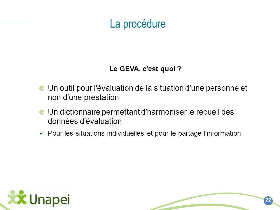 La procédure 22 Le GEVA, c'est quoi ? Un outil pour l'évaluation de la situation d'une personne et non d'une prestation Un dictionnaire permettant d'h
