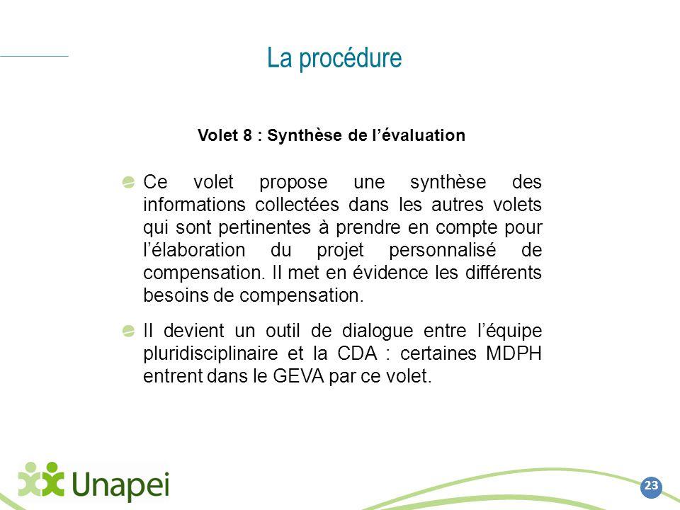 La procédure 23 Volet 8 : Synthèse de lévaluation Ce volet propose une synthèse des informations collectées dans les autres volets qui sont pertinente
