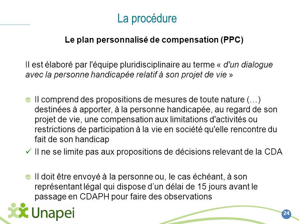 La procédure 24 Le plan personnalisé de compensation (PPC) Il est élaboré par l'équipe pluridisciplinaire au terme « d'un dialogue avec la personne ha
