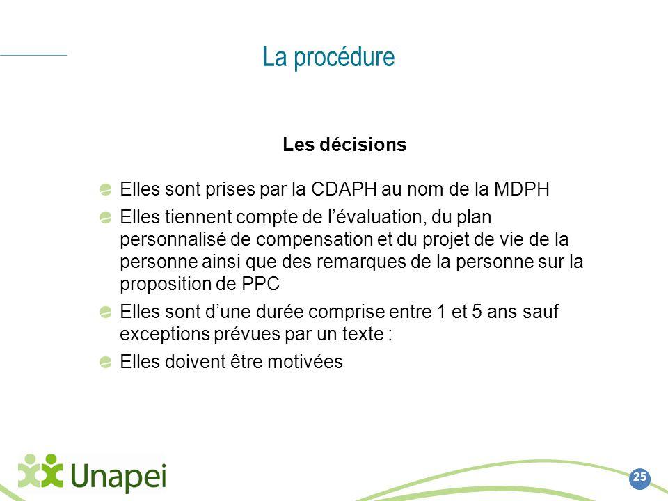 La procédure 25 Les décisions Elles sont prises par la CDAPH au nom de la MDPH Elles tiennent compte de lévaluation, du plan personnalisé de compensat