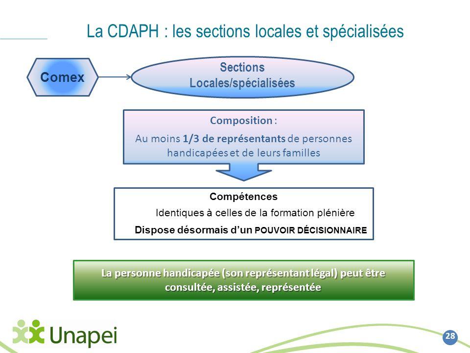 28 La CDAPH : les sections locales et spécialisées Comex Sections Locales/spécialisées Composition : Au moins 1/3 de représentants de personnes handic