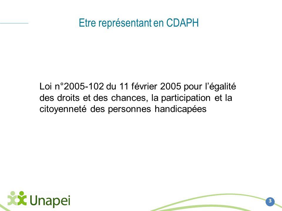 Etre représentant en CDAPH 3 Loi n°2005-102 du 11 février 2005 pour légalité des droits et des chances, la participation et la citoyenneté des personn