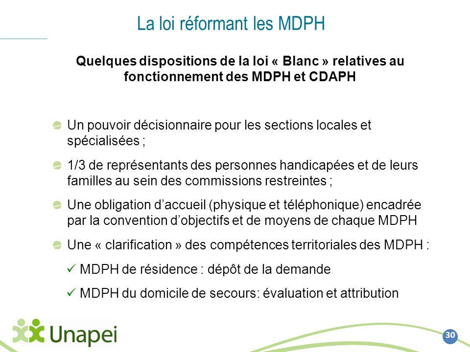 La loi réformant les MDPH 30 Quelques dispositions de la loi « Blanc » relatives au fonctionnement des MDPH et CDAPH Un pouvoir décisionnaire pour les