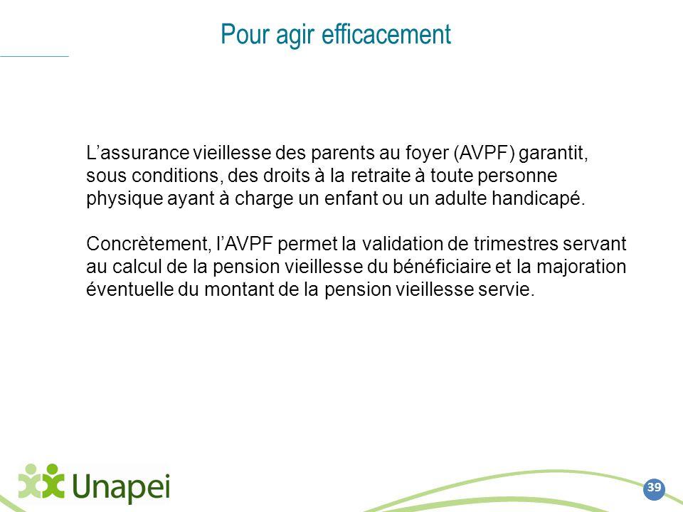 39 Pour agir efficacement Lassurance vieillesse des parents au foyer (AVPF) garantit, sous conditions, des droits à la retraite à toute personne physi