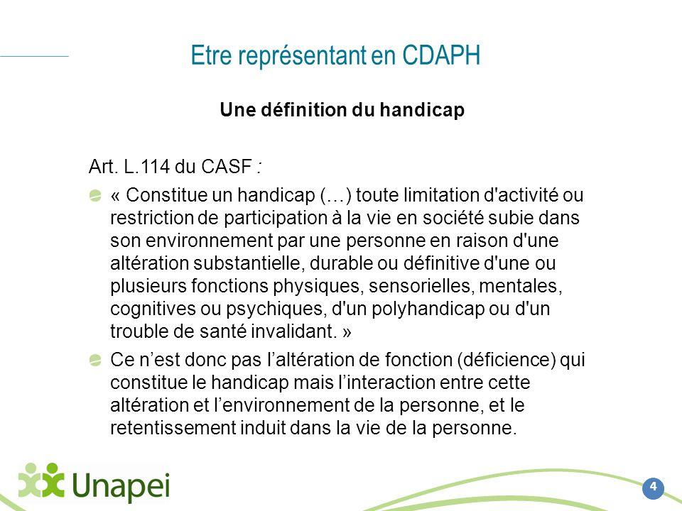 Etre représentant en CDAPH 4 Une définition du handicap Art. L.114 du CASF : « Constitue un handicap (…) toute limitation d'activité ou restriction de