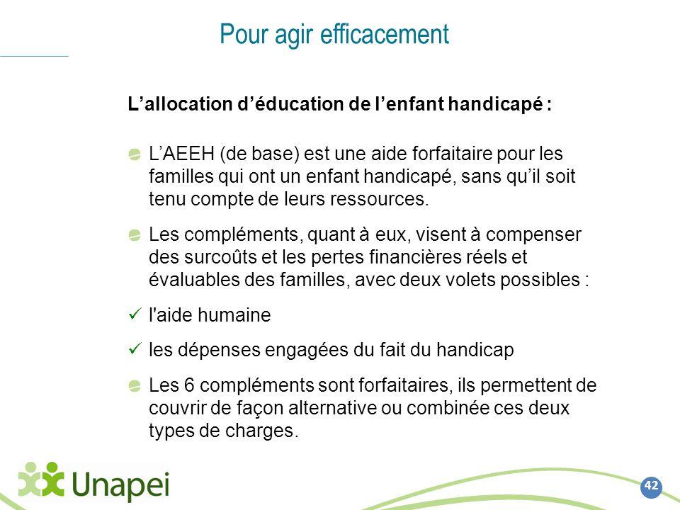 42 Pour agir efficacement Lallocation déducation de lenfant handicapé : LAEEH (de base) est une aide forfaitaire pour les familles qui ont un enfant h