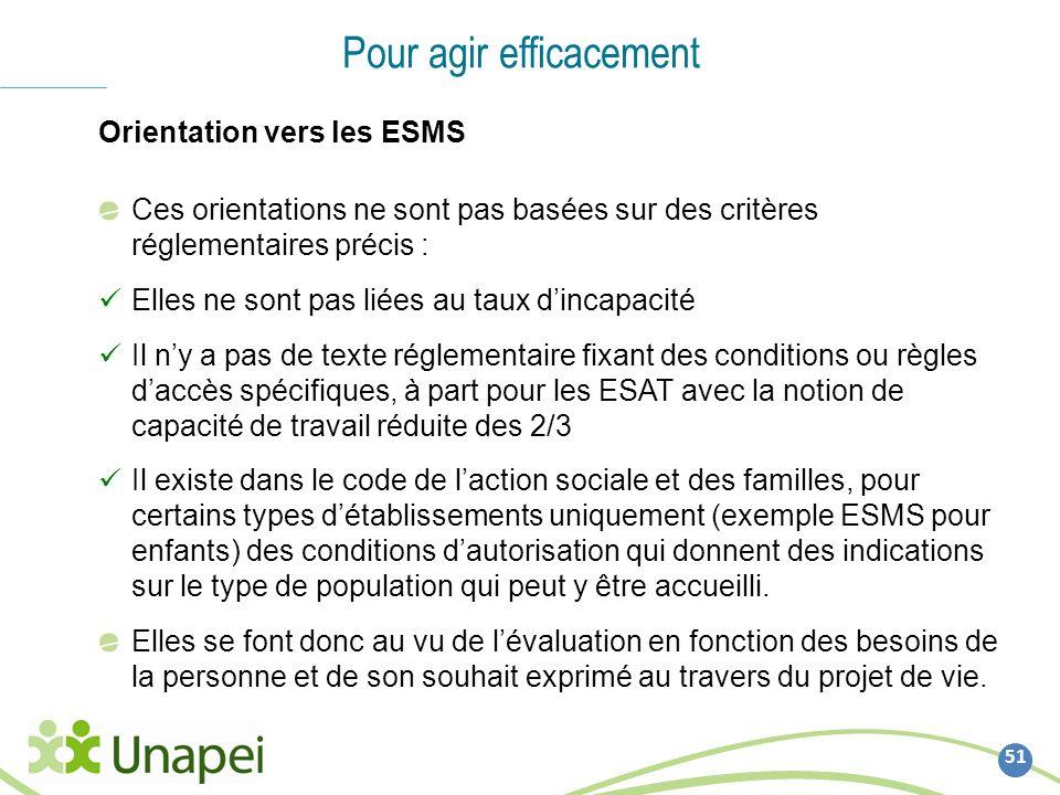 51 Pour agir efficacement Orientation vers les ESMS Ces orientations ne sont pas basées sur des critères réglementaires précis : Elles ne sont pas lié