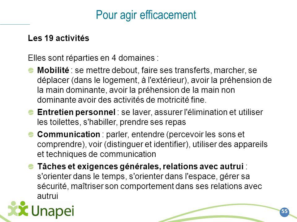 55 Pour agir efficacement Les 19 activités Elles sont réparties en 4 domaines : Mobilité : se mettre debout, faire ses transferts, marcher, se déplace