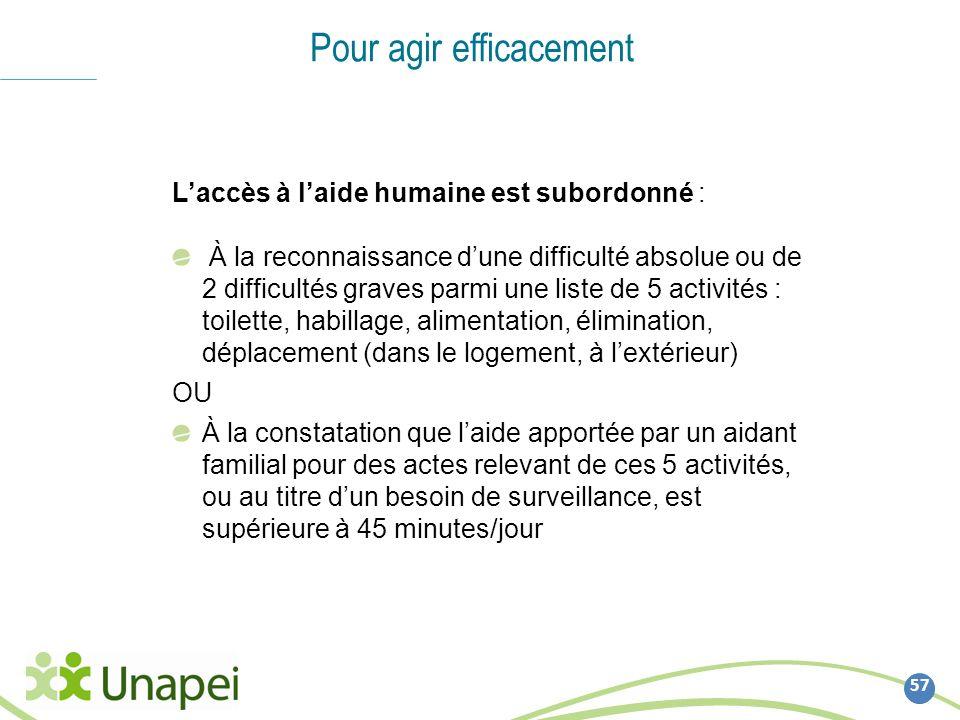 57 Pour agir efficacement Laccès à laide humaine est subordonné : À la reconnaissance dune difficulté absolue ou de 2 difficultés graves parmi une lis