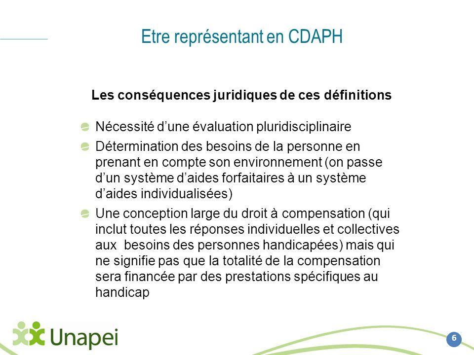Etre représentant en CDAPH 6 Les conséquences juridiques de ces définitions Nécessité dune évaluation pluridisciplinaire Détermination des besoins de