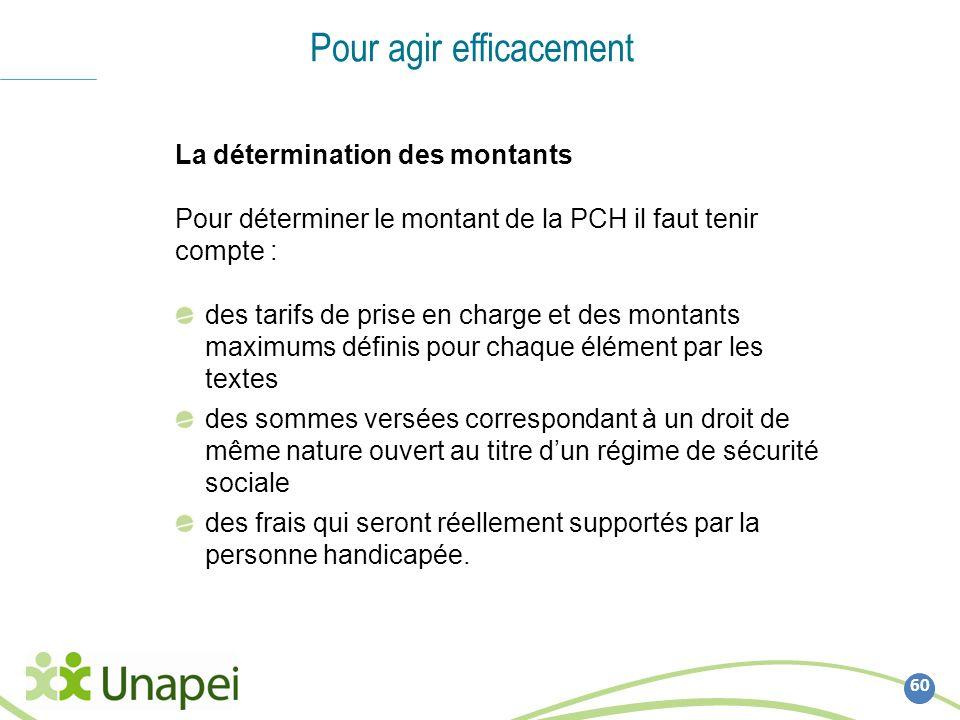 60 Pour agir efficacement La détermination des montants Pour déterminer le montant de la PCH il faut tenir compte : des tarifs de prise en charge et d