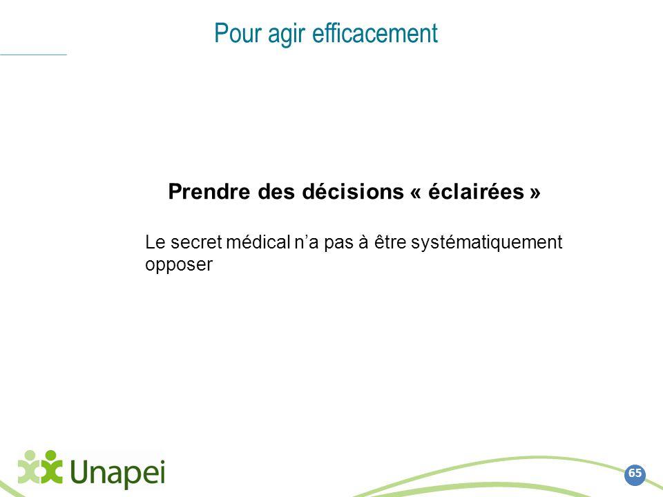 65 Pour agir efficacement Prendre des décisions « éclairées » Le secret médical na pas à être systématiquement opposer