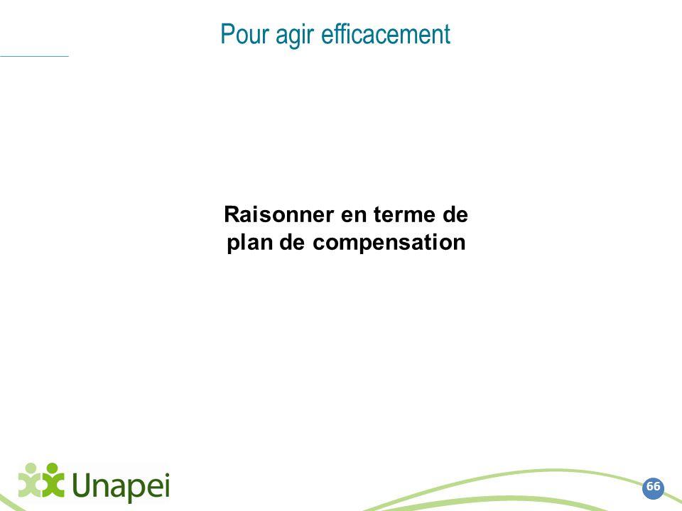 66 Pour agir efficacement Raisonner en terme de plan de compensation