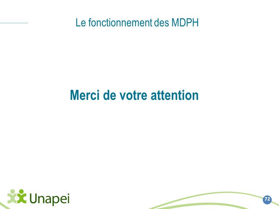 Le fonctionnement des MDPH 72 Merci de votre attention