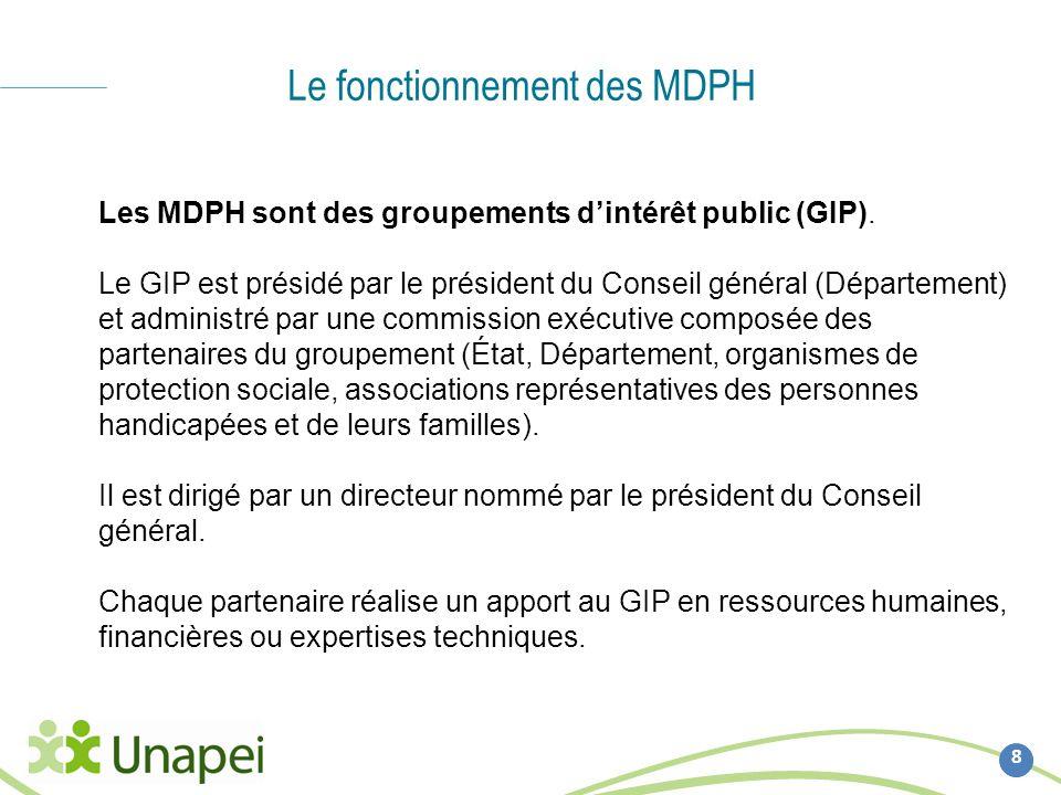 Le fonctionnement des MDPH 8 Les MDPH sont des groupements dintérêt public (GIP). Le GIP est présidé par le président du Conseil général (Département)