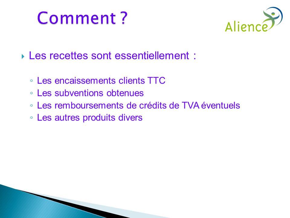 Les recettes sont essentiellement : Les encaissements clients TTC Les subventions obtenues Les remboursements de crédits de TVA éventuels Les autres p