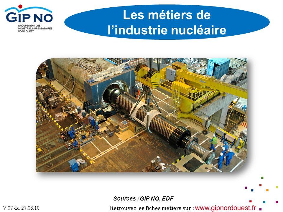 Retrouvez les fiches métiers sur : V 07 du 27.08.10 Retrouvez les fiches métiers sur : Les métiers de lindustrie nucléaire Sources : GIP NO, EDF
