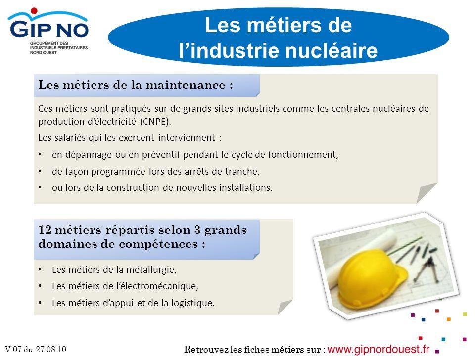 Retrouvez les fiches métiers sur : V 07 du 27.08.10 Ces métiers sont pratiqués sur de grands sites industriels comme les centrales nucléaires de produ