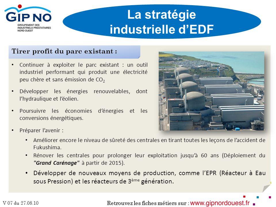 Retrouvez les fiches métiers sur : V 07 du 27.08.10 Retrouvez les fiches métiers sur : La stratégie industrielle dEDF Continuer à exploiter le parc ex