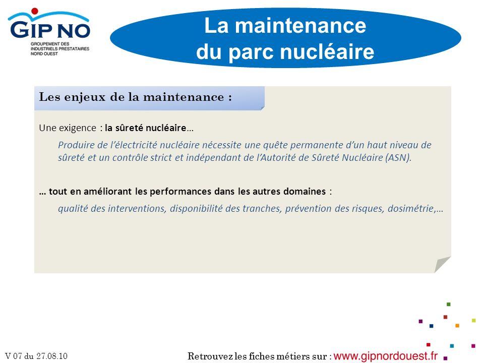 Retrouvez les fiches métiers sur : V 07 du 27.08.10 La maintenance du parc nucléaire Retrouvez les fiches métiers sur : Une exigence : la sûreté nuclé