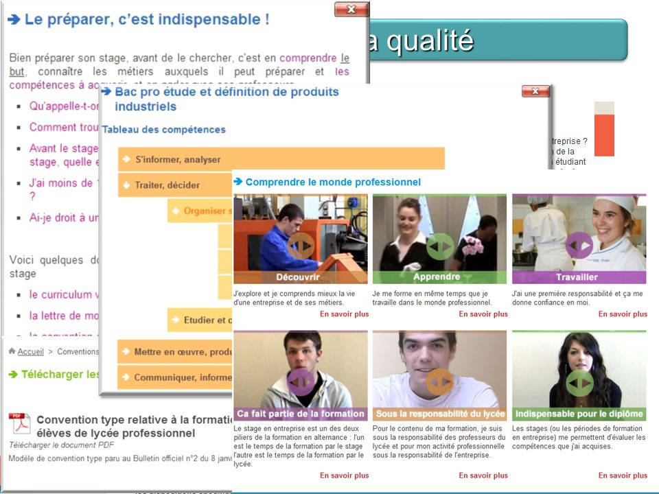 B. Améliorer la qualité - Phase de préparation Du coté de lélève et de létablissement: Mon stage en ligne est aussi un outil : - dinformations sur le