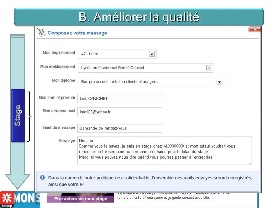 B. Améliorer la qualité - B- Pendant le stage Du coté de lélève et de létablissement: Mon stage en ligne est un outil daccompagnement avec: - un servi