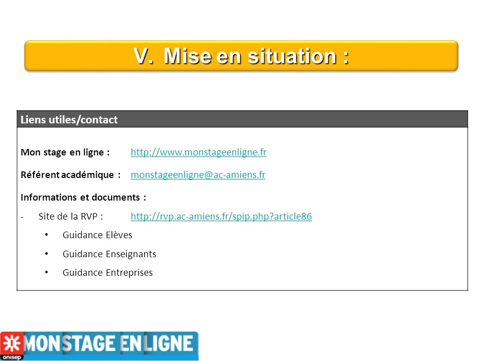 V.Mise en situation : Liens utiles/contact Mon stage en ligne : http://www.monstageenligne.frhttp://www.monstageenligne.fr Référent académique : monst