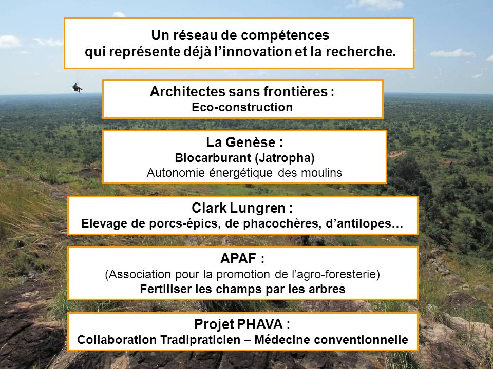 Un réseau de compétences qui représente déjà linnovation et la recherche. Architectes sans frontières : Eco-construction La Genèse : Biocarburant (Jat