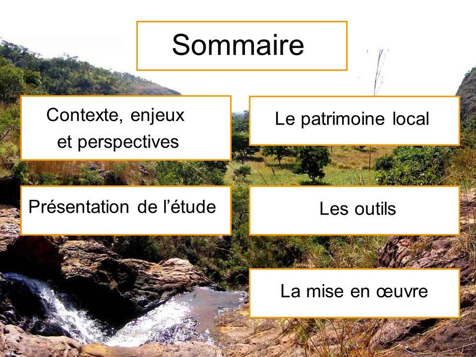 Sommaire Contexte, enjeux et perspectives Présentation de létude Le patrimoine local Les outils La mise en œuvre