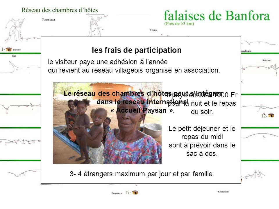 Le réseau des chambres dhôtes a débuté en 2005 dans le but daccueillir les bénévoles de lassociation D.O.U.SE 18 concessions villageoises proches des