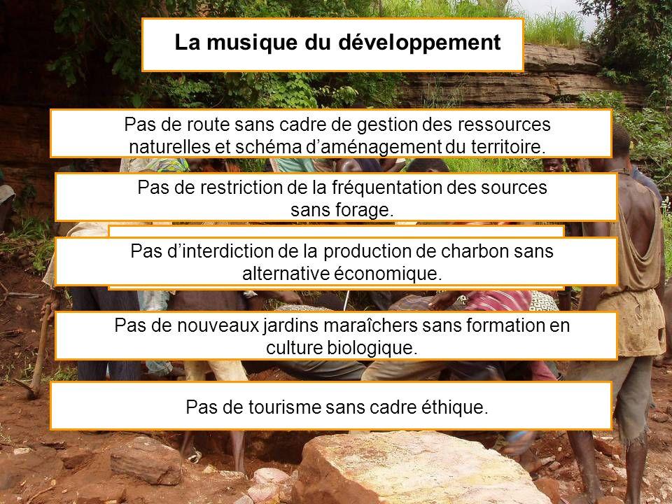 La musique du développement Un développement harmonieux avance en rythme et suit la partition Pas de route sans cadre de gestion des ressources nature