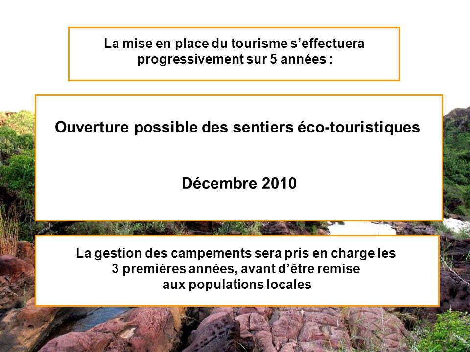 La mise en place du tourisme seffectuera progressivement sur 5 années : La gestion des campements sera pris en charge les 3 premières années, avant dê