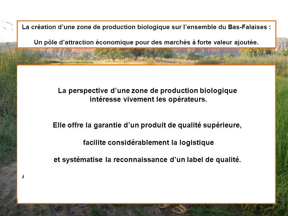 La création dune zone de production biologique sur lensemble du Bas-Falaises : Un pôle dattraction économique pour des marchés à forte valeur ajoutée.