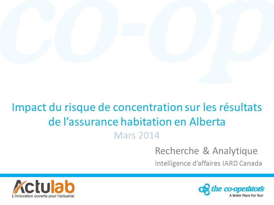 Impact du risque de concentration sur les résultats de lassurance habitation en Alberta Mars 2014 Recherche & Analytique Intelligence daffaires IARD Canada