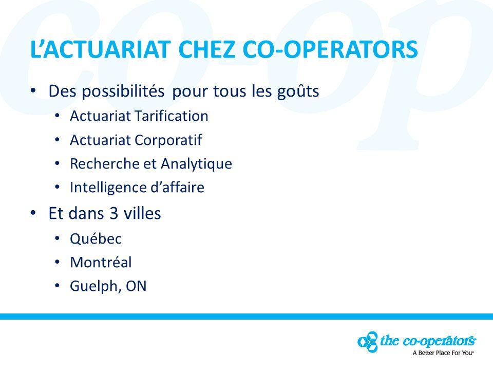 LACTUARIAT CHEZ CO-OPERATORS Des possibilités pour tous les goûts Actuariat Tarification Actuariat Corporatif Recherche et Analytique Intelligence daffaire Et dans 3 villes Québec Montréal Guelph, ON