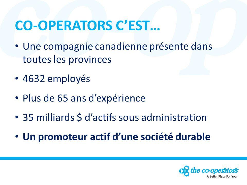 CO-OPERATORS CEST… Une compagnie canadienne présente dans toutes les provinces 4632 employés Plus de 65 ans dexpérience 35 milliards $ dactifs sous administration Un promoteur actif dune société durable