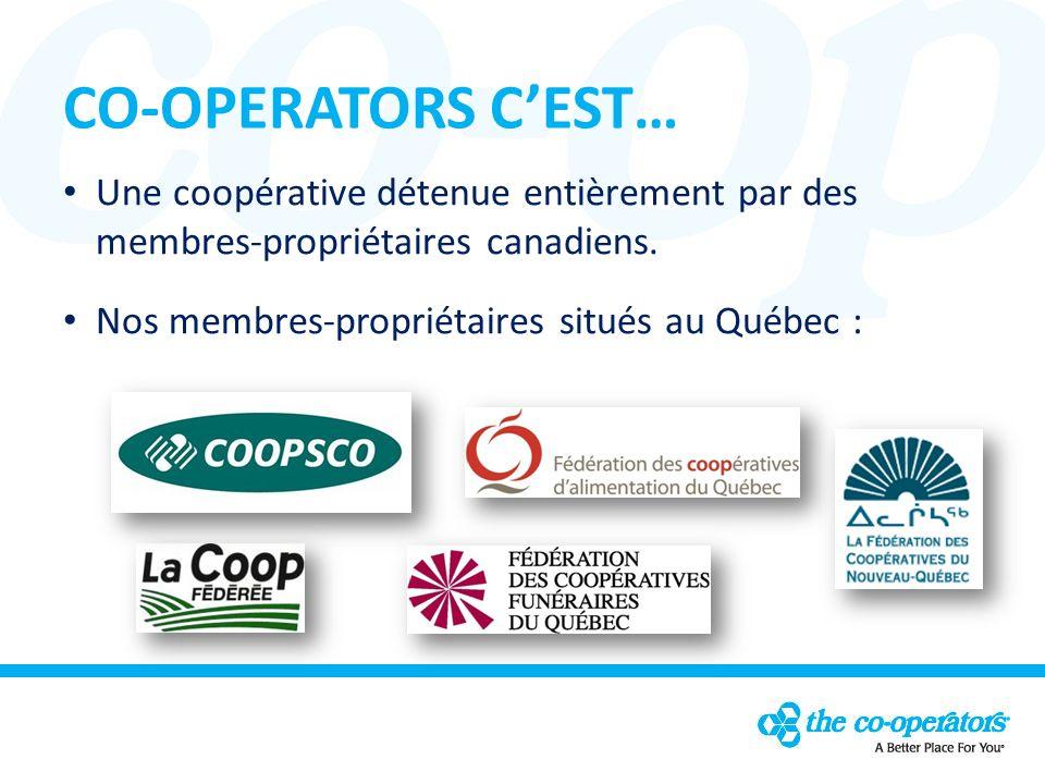 CO-OPERATORS CEST… Une coopérative détenue entièrement par des membres-propriétaires canadiens.