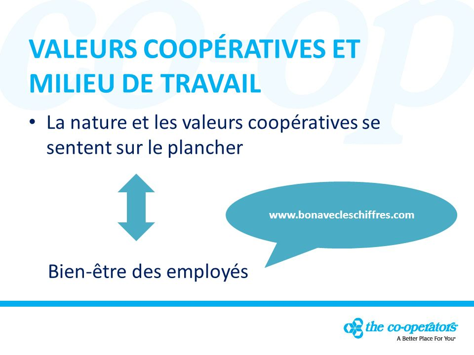 VALEURS COOPÉRATIVES ET MILIEU DE TRAVAIL La nature et les valeurs coopératives se sentent sur le plancher Bien-être des employés www.bonavecleschiffres.com