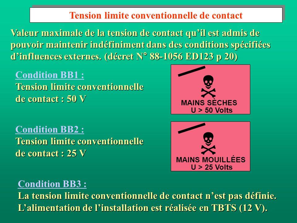Condition BB1 : Tension limite conventionnelle de contact : 50 V Condition BB2 : Tension limite conventionnelle de contact : 25 V U > 50 Volts MAINS S