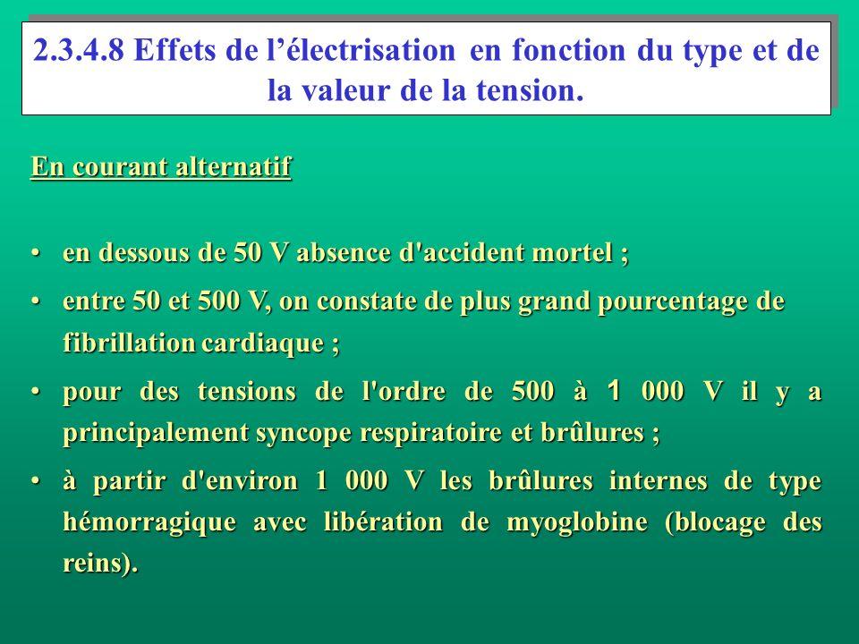 2.3.4.8 Effets de lélectrisation en fonction du type et de la valeur de la tension. En courant alternatif en dessous de 50 V absence d'accident mortel