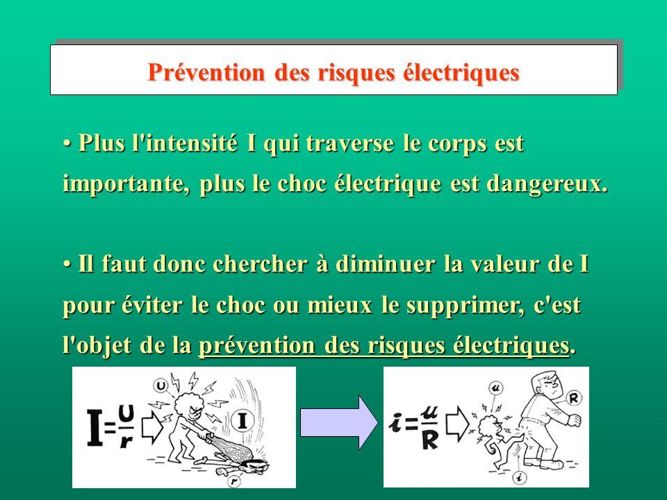 Prévention des risques électriques Plus l'intensité I qui traverse le corps est importante, plus le choc électrique est dangereux. Plus l'intensité I