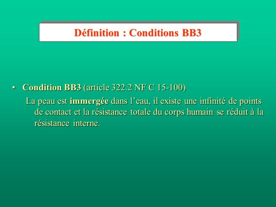 Définition : Conditions BB3 Condition BB3 (article 322.2 NF C 15-100)Condition BB3 (article 322.2 NF C 15-100) La peau est immergée dans leau, il exis